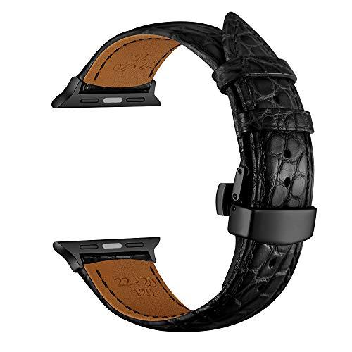 YoChYi Compatible con Apple Watch Series 5 4 3 2 1 38mm 40mm 42mm 44mm Correa, Hebilla Mariposa Patrón de Cocodrilo Cuero Banda de Repuesto (42/44mm, Black Black)