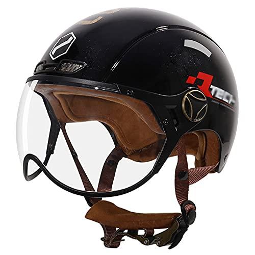 TYYCKJ Casco retro para motocicleta, para adultos, con certificación DOT con visera, casco ligero, clásico, adulto, hombres y mujeres, unisex, gorra de cráneo, seguro para proteger el casco