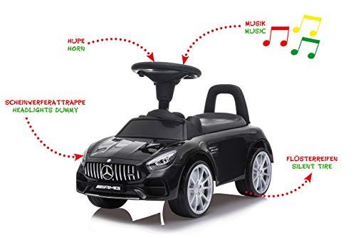Jamara 460605 Rutscher Mercedes-Benz AMG GT – Kofferraum unter der Sitzfläche, Schub- und Haltegriff, Hupe und Sound am Lenkrad, originalgetreue Optik, Kippschutz, schwarz
