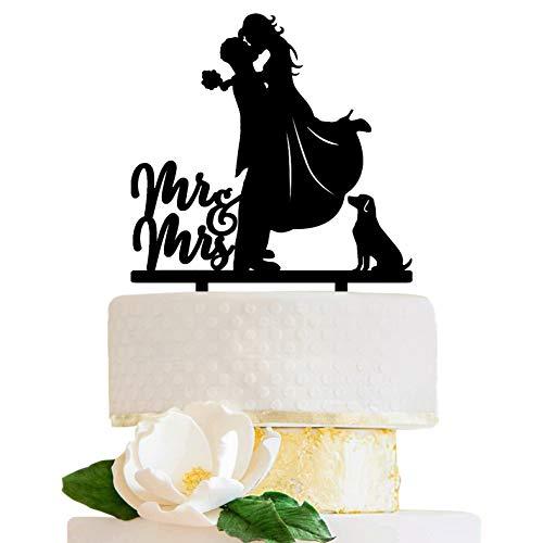LOVENJOY - Decoración para tarta de boda con perro (caja de regalo), color negro