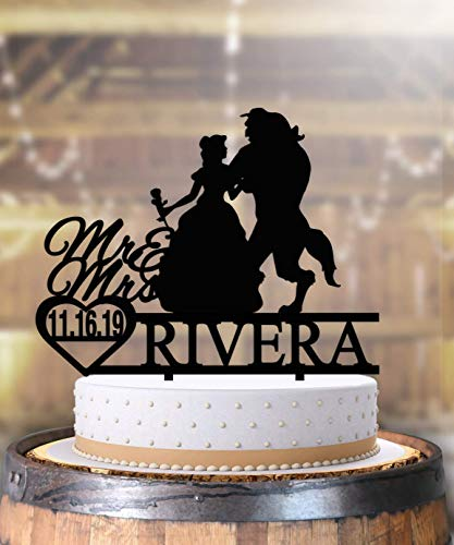Beauty and the Beast Belle Tale as Old as Time Anniversary Wedding Cake Topper Personalized