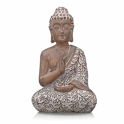 TERESA'S COLLECTIONS Estatua de Buda Religiosa de Resina Estatua de Buda Sentado Estatuilla de Buda Pequeña Estatuilla de Patrón Beige Batas Decorativas de Interior 36.5cm