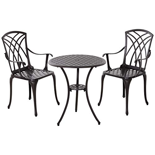 Outsunny Patio Cast Aluminium 3 PCS Bistro Set Coffee Table & 2 Chairs Set Outdoor Garden Furniture Set