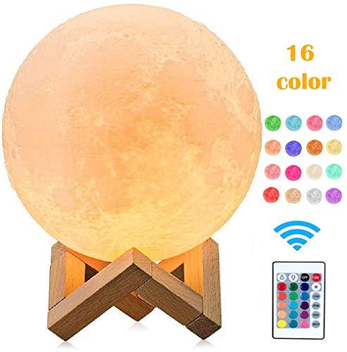 3D LED Mond Lampe mit Fernbedienung 15cm 16 Lichtfarben Mond Nachtlicht RGB Mondlicht Tragbares Nachtlicht mit Batterie Dimmbar