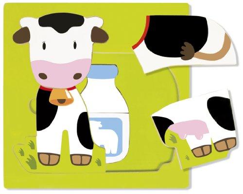 Goula - Puzzle vaca de 3 niveles, 7 piezas de madera (Diset 53028) , color/modelo surtido