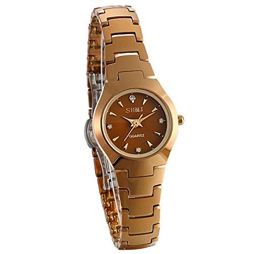 JewelryWe Damen Partner Armbanduhr Analog Quarz Kalender Wolframcarbid Band Paar Uhren, Kaffeegold