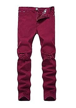 Boy s Wine Red Stretch Skinny Fit Ripped Destroyed Distressed Fashion Slim Denim Jeans 16