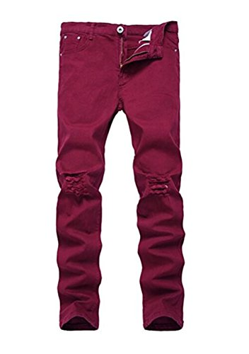 Boy's Wine Red Stretch Skinny Fit Ripped Destroyed Distressed Fashion Slim Denim Jeans 14