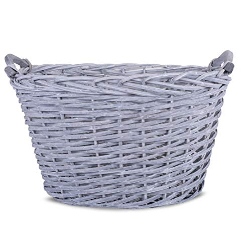 BASIC HOUSE Oval Grey Washed Chunky Wicker Fireside Storage Heavy Duty Log Basket