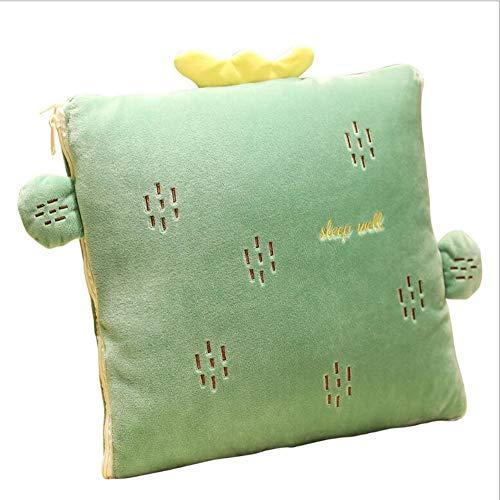 Ecloud Shop Kreative Kissen Decke 2in1 Kissen Quilt Multifunktionale Kissen Decke Nackenstützkissen Soft & Warm Nap Mat Kissen für Schlafsofa Bürostuhl (Cactus)
