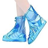 JHWSX Fundas para Zapatos de Lluvia, Impermeables, Duraderas, Reutilizables, Protectores para Zapatos y Botas, Ligeras (Color : Blue, Size : 34)