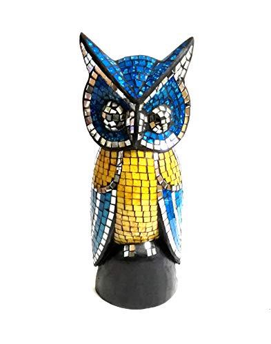 Eulenfigur in Mosaiktechnik Dekofigur Blau/Gelb 30cm Mosaik/Holz