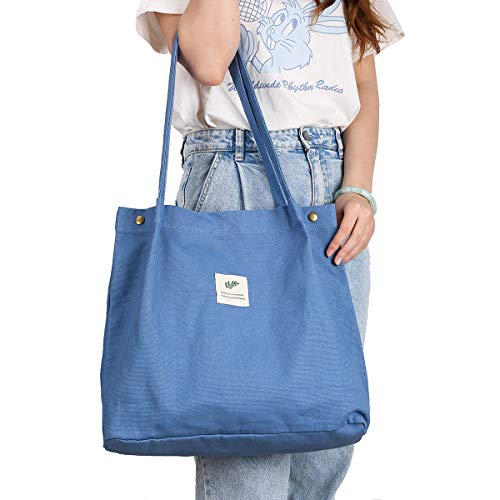 Bolsa de lona para mujeres y niñas, lavable, reutilizable llevar bolsa de hombro con bolsillo interior (azul)