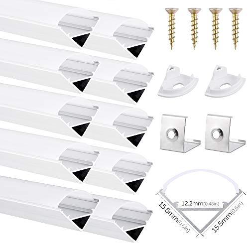 DazSpirit Profil LED 45°, 10er-Pack 1M LED Aluminium Profil mit Weiß Milchige Abdeckung, Endkappen, und Montageklammer für LED-Streifen, Leisten (V-Form-10PCS)