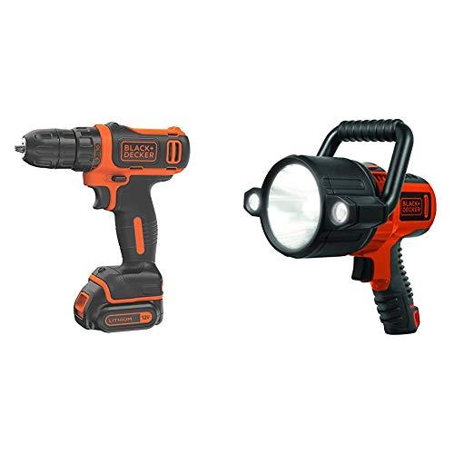 BLACK+DECKER 12V MAX Cordless Drill/Driver with Rechargeable 750 Lumen 10W LED Spotlight Flashlight (BDCDD12C & SLV2B)
