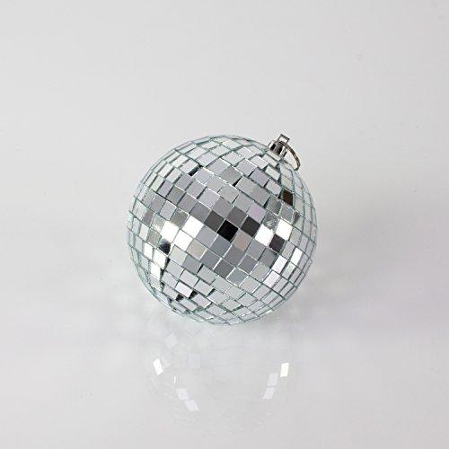 showking Kleine Discokugel GLIX mit Echtglasfacetten, Ø 10cm, Silber - Spiegelkugel - 70er 80er Jahre Mottoparty