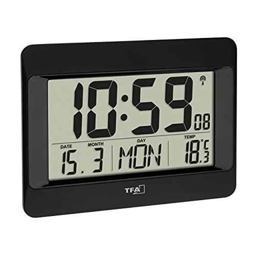 TFA Dostmann Reloj de Pared Digital, 60.4519.01, Radio Reloj con Temperatura Interior, día de la Semana (8 Idiomas), Fecha, Ajuste de Zona horaria, Color Negro, plástico, 215 x 160 x 26 (68) mm
