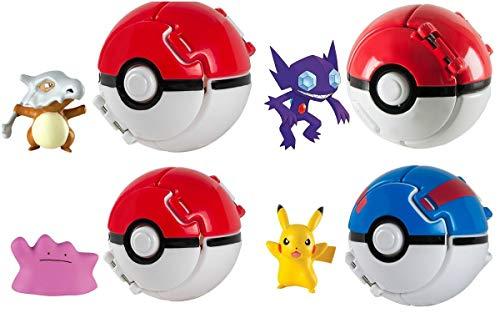 Rocco Toys T18873 - Pokemon Throw 'N Pop Poké Ball, Verschiedene Figuren