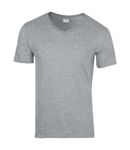 Gildan Mens S/S Softstyle V-Neck T-Shirt Sport Grey X-Larg
