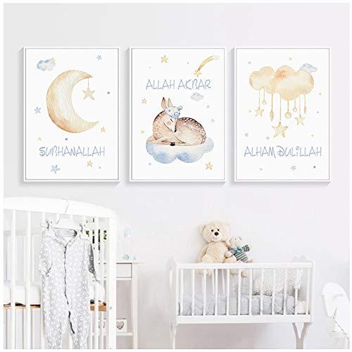 Liang Ni Inc Sweet Pictures Nursery Decor Toile Peinture Affiche et Imprimer Wall Art Photos pour Chambre de Bébé Décoration de La Maison -50x70cm sans Cadre