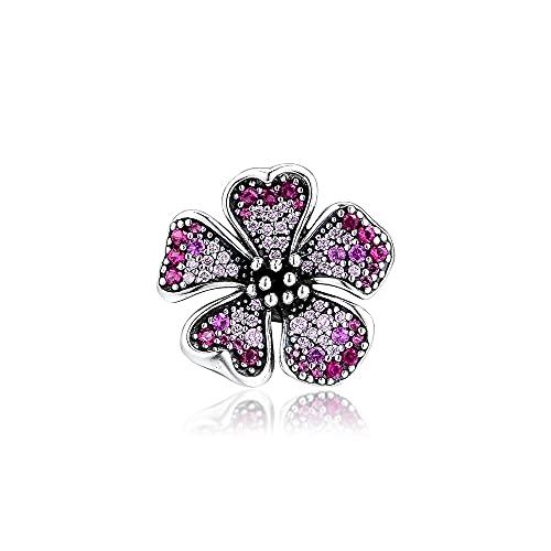 Pandora 925 ciondoli in argento sterling fai da te bracciali adatti a fiori di pesco ciondoli a forma di fiore perline originali per fare gioielli da donna