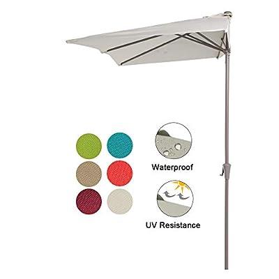 COBANA 7.5'by 4'Half Rectangular Outdoor Patio Umbrella for Patio, Balcony, Garden, Deck, Cream White