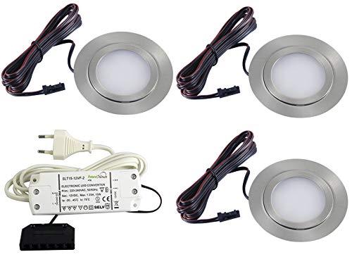 Preisvergleich Produktbild 3er Set flache LED Einbauleuchte Möbelleuchte Einbaustrahler SLIM 3W HIGH LED SMD 3000K Warmweiß ULTRAFLACH FT-1013N