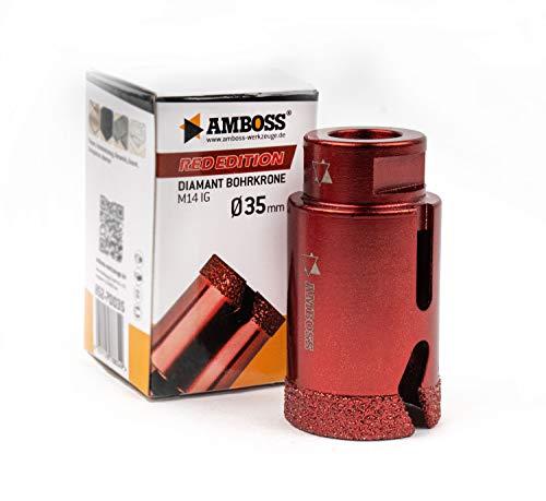Amboss RED EDITION M14 Diamant Bohrkrone - für Winkelschleifer - Feinsteinzeug, harte Fliesen, Granit/Die ideale Trockenbohrkrone (Ø 35 mm)