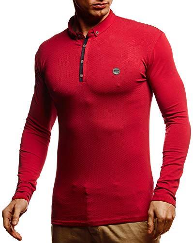 Leif Nelson Herren Polo-Shirt Langarmshirt Slim Fit Baumwolle-Anteil Basic Männer Longsleeve Pulli Weinrotes Sweatshirt Poloshirt Pullover T-Shirt Langarm LN55135 Weinrot Medium