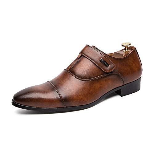 Best-choise Zapatos Oxford para Hombres Zapatos Formales Slip On Style PU de Cuero con Estilo Cremallera y Cierre Personalizado Llamativo (Color : Marrón, tamaño : 41 EU)