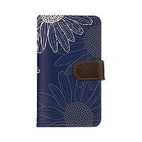 seventwo AQUOS CRYSTAL 305SH スマホケース 手帳型 携帯ケース スマホカバー ミラー付 SHARP シャープ アクオス クリスタル 【F.ネイビー】 ひまわり 花柄 植物 flower_173