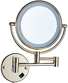 Daily Necessities LED Makeup Mirror Double-Sided Wall Mounted Bathroom Mirror Vanity Makeup and Shaving Mirror   8 inch 3X Magnification   360° Rotating Adjustable Extendable (Gold)