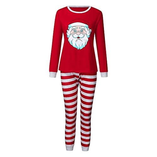 Keerads - Conjunto de ropa infantil con diseño de Papá Noel y pantalones Xmas para la familia de pijamas rojo S