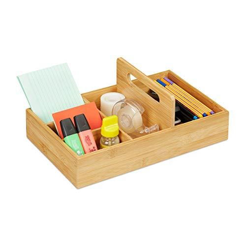 Relaxdays Schreibtisch Organizer aus Bambus, Stiftehalter für Büro und Zuhause, 5 Fächer, HBT 12,5x32,5x20,5 cm, Natur