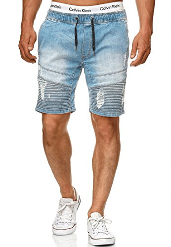 Indicode Herren Ernest Jeans Shorts mit 4 Taschen & elastischem Bund aus 98{1121fc534de5e9290a4e8fafaec48e43d4e172e7128e667a4a67f56bd9a0b755} Baumwolle | Kurze Denim Stretch Hose Used Look Washed Destroyed Regular Fit Freizeithose f. Männer Blue Wash L