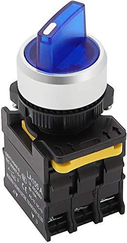 Tnisesm LED blu tensione della luce 110-220V 22mm 2 NO 3 posizioni impermeabile IP65 chiusura interruttore rotativo 10A 600V LA155-A1-20XSD-B