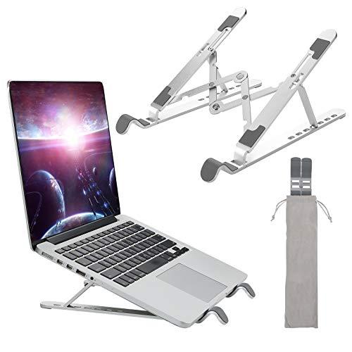 Laptop Ständer, 7 Stufe Höhenverstellbar Faltbar Laptopständer Tragbarer Faltbar Aluminium Laptop Stand für Mac MacBook Air Pro, Tablet iPad, Lenovo, Dell, HP, Huawei, Phones von 10 bis zu 15.6 Zoll