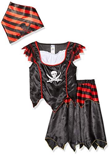 Smiffys-32341S Disfraz de Chica de Calavera de Pirata y Huesos Cruzados, con Vestido y pañoleta para la Cabeza, Color Negro, S-Edad 4-6 años (Smiffy'S 32341S)