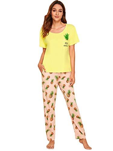 DIDK Damen Pyjama Set mit Ananas Kurzarmshirt Elastische Bund Schlafhose Schlafanzüge Set Gelb XS