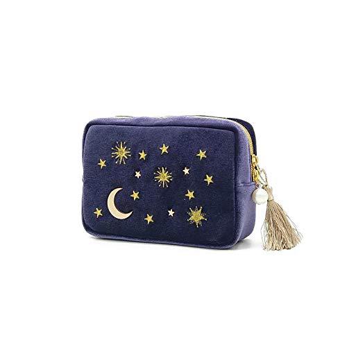 Sac cosmétique Étoile Lune Broderie Bijoux Sac Voyage Portable Mini Boîte Carrée Sac De Rangement-Bleu_20 * 6 * 13 cm