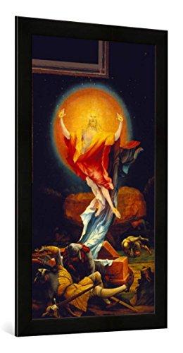 Gerahmtes Bild von Mathias Grünewald Isenheimer Altar. Auferstehung Christi, Rechter Flügel der zweiten Schauseite, Kunstdruck im hochwertigen handgefertigten Bilder-Rahmen, 50x100 cm, Schwarz matt