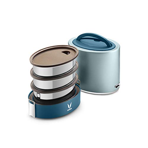 Vaya Tyffyn Polished Stainless Steel Lunch Box Without Bagmat, 1000 ml, 3 Containers, Blue