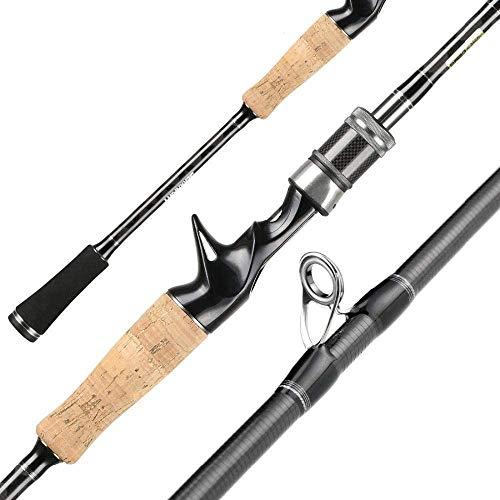 YUMUO 1.98m 2.1m 2.4m caña de Pescar 2 Consejos M & MLPower 2 Secciones Barra de señuelos Spinning/Casting Carbon Rod Tackles de Pesca, 198cm Casting