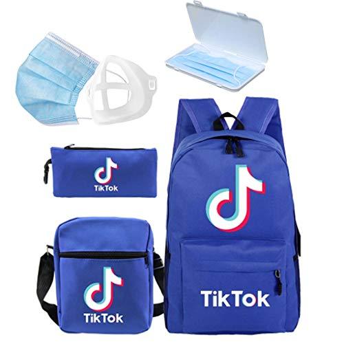 MISS YOU Rucksack Tik Tok Rucksack Student Schultasche + kleine Umhängetasche + Pencil case + Maske Aufbewahrungsbox + 3D Maskenhalter, fünf-teiliges Set-mehrere Farben erhältlich (Color : C)