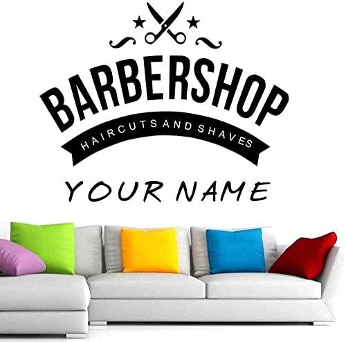 Adesivo da parete Adesivo da barbiere da uomo Nome Decalcomania per pane Taglio di capelli Rasoio da parete in vinile 58x88cm