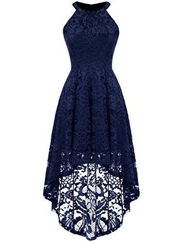 Dressystar Vokuhila Kleid Cocktail Spitzenkleid Halter Sexy Schulterfrei Ballkleid Marineblau L
