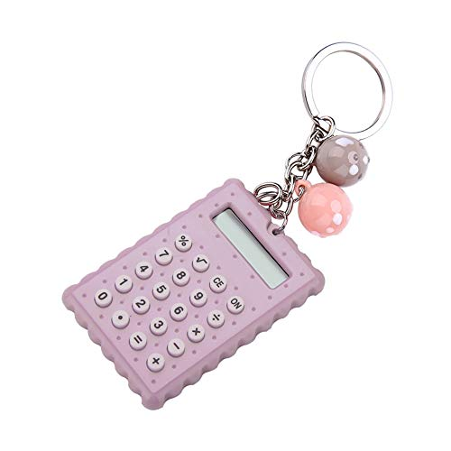 ASHATA Mini Calculator with Key Buckle,Portable Cute Cookies Style Key Chain Calculator,Student Pocket Calculator with Candy Color(Blue)