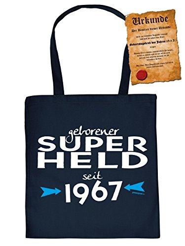 Männer-Fun/Geburtstags/Jahrgangs/Grill-Kochschürze + Spaß-Urkunde: geborener Super Held seit 1967 Geschenkidee