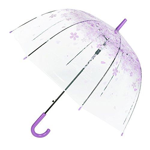 FLYdragon - Ombrello a cupola trasparente - antivento, semi-automatico, pieghevole - per donne, bambini, matrimoni, feste e campeggio, Purple sakura, 31.9inch