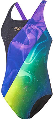 Speedo Placement Digital Medalist, Swimsuit Donna, Black/Violet/Fluo Yellow/Nordic Teal, 30 (UK 8)